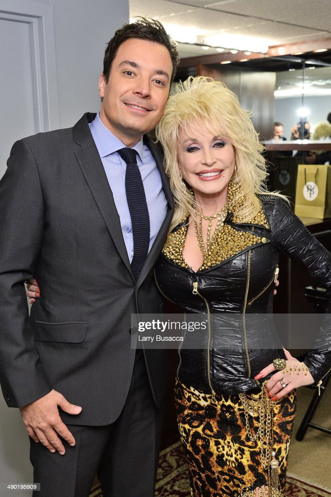 Tonight Show host Jimmy Fallon and <a gi-track='captionPersonalityLinkClicked' href=/galleries/search?phrase=Dolly+Parton&family=editorial&specificpeople=220238 ng-click='$event.stopPropagation()'>Dolly Parton</a> during the promotion of <a gi-track='captionPersonalityLinkClicked' href=/galleries/search?phrase=Dolly+Parton&family=editorial&specificpeople=220238 ng-click='$event.stopPropagation()'>Dolly Parton</a>'s new album 'Blue Smoke' at the Tonight Show on May 13, 2014 in New York City.