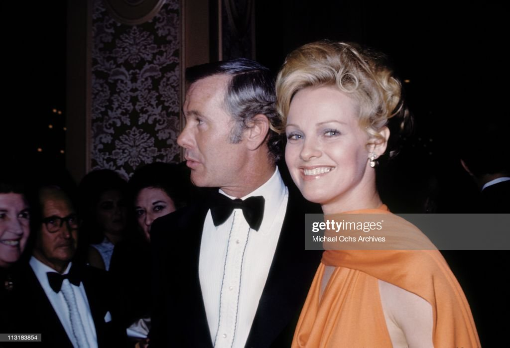 Tonight Show host <a gi-track='captionPersonalityLinkClicked' href=/galleries/search?phrase=Johnny+Carson&family=editorial&specificpeople=206990 ng-click='$event.stopPropagation()'>Johnny Carson</a> and actress Angel Tompkins attend an event in February 1971 in Los Angeles, California.