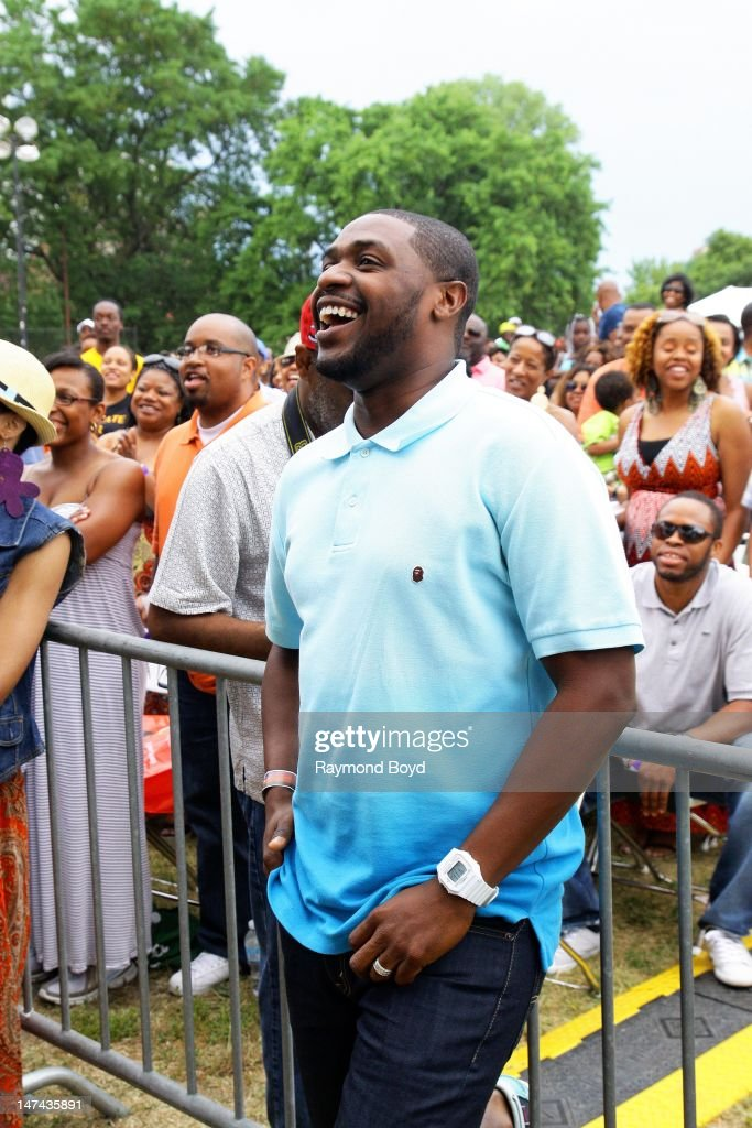 'Tonight Show with Jay Leno' drummer musician and husband of Tina Campbell of Mary Mary Teddy Campbell watches his wife perform during the Chicago...