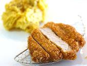 Tonkatsu with garlic mashed potato