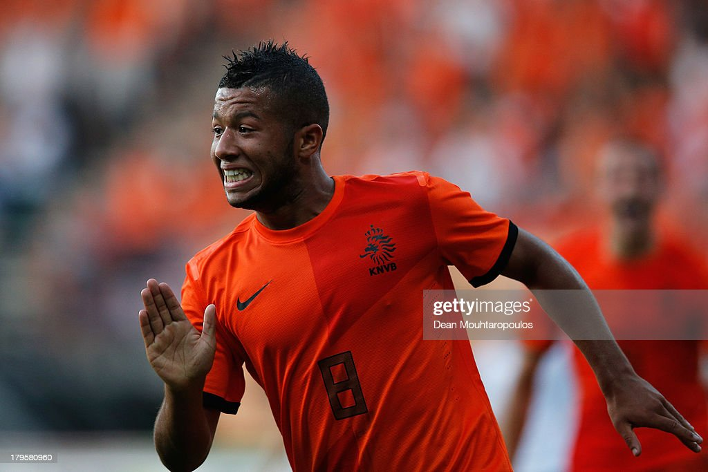 Tonny Trindade de Vilhena of Netherlands celebrates scoring the first goal of the game during the 2015 UEFA European U21 Championships Qualifier between Netherlands U21s and Scotland U21s held at De Goffert Stadion on September 5, 2013 in Nijmegen, Netherlands.