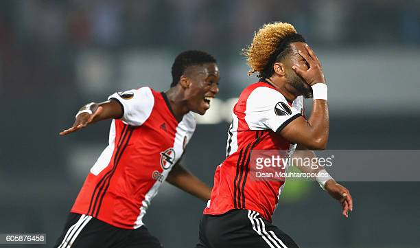 Tonny Vilhena of Feyenoord celebrates scoring his teams opener with teammate Terence Kongolo during the UEFA Europa League Group A match between...