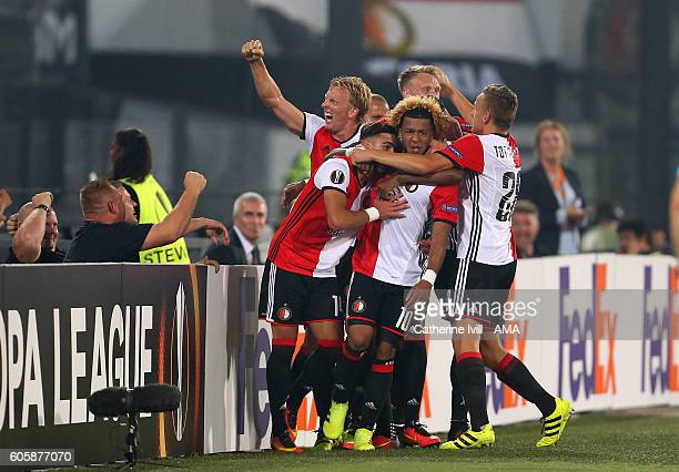 Tonny Vilhena of Feyenoord celebrates with his team mates after he scores a goal to make it 10 during the UEFA Europa League match between Feyenoord...