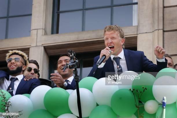 Tonny Vilhena of Feyenoord Coach Giovanni van Bronckhorst Dirk Kuyt of Feyenoordduring Feyenoord Rotterdam honored Eredivisie champions at the...