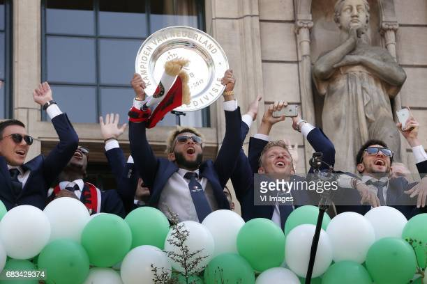 Tonny Vilhena of Feyenoord Dirk Kuyt of Feyenoord during Feyenoord Rotterdam honored Eredivisie champions at the Coolsingel on May 15 2017 in...