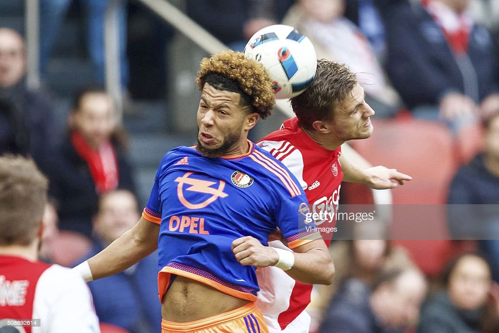 Tonny Vilhena of Feyenoord, Joel Veltman of Ajax during the Dutch Eredivisie match between Ajax Amsterdam and Feyenoord Rotterdam at the Amsterdam Arena on February 07, 2016 in Amsterdam, The Netherlands