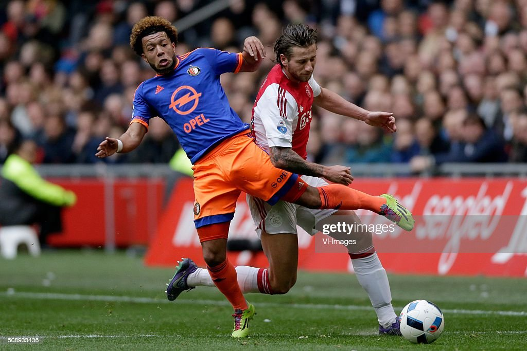 Tonny Vilhena of Feyenoord, Mitchell Dijks of Ajax during the Dutch Eredivisie match between Ajax Amsterdam and Feyenoord Rotterdam at the Amsterdam Arena on February 07, 2016 in Amsterdam, The Netherlands