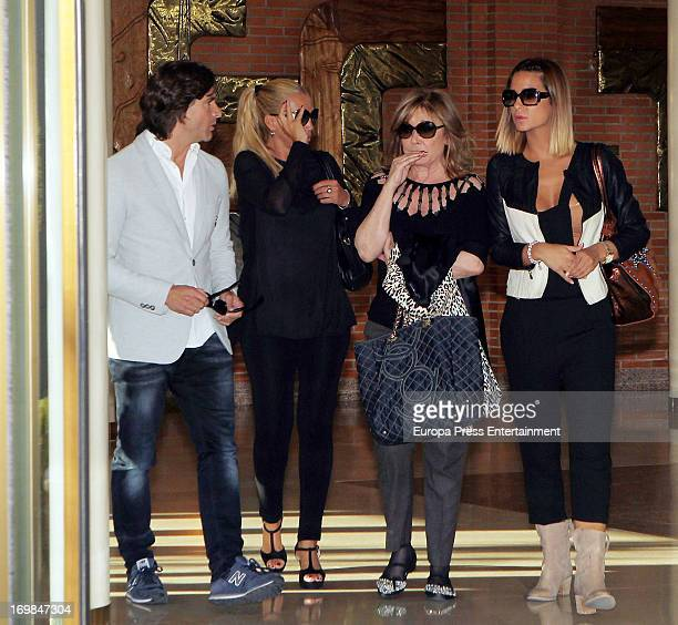 Tono Sanchis Belen Esteban Mila Ximenez and Tamara Gorro visit the chapel of rest for Mario Biondo at Tanatorio Parcesa on May 31 2013 in Madrid...