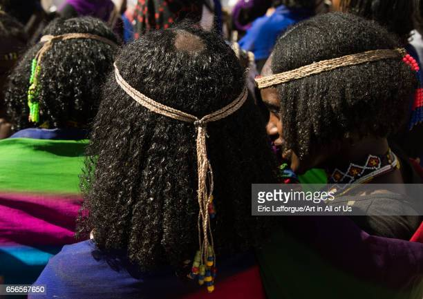 Tonsure that indicates the Borana tribe girl is virgin during the Gada system ceremony Oromia Yabelo Ethiopia on March 7 2017 in Yabelo Ethiopia