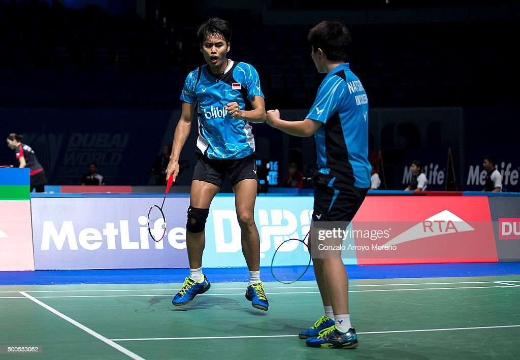 Tontowi Ahmad and <a gi-track='captionPersonalityLinkClicked' href=/galleries/search?phrase=Liliyana&family=editorial&specificpeople=4055313 ng-click='$event.stopPropagation()'>Liliyana</a> Natsir of Indonesia celebrate in the mixed doubles match agianst Chris Adcock and Gabrielle Adcock of England during day one of the BWF Dubai World Superseries 2015 Finals at the Hamdan Sports Complex on December 9, 2015 in Dubai, United Arab Emirates.