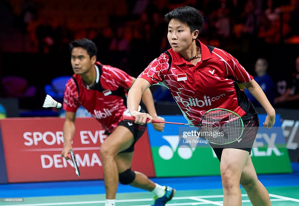 Tontowi AHMAD and <a gi-track='captionPersonalityLinkClicked' href=/galleries/search?phrase=Liliyana&family=editorial&specificpeople=4055313 ng-click='$event.stopPropagation()'>Liliyana</a> NATSIR of Indonesia in action during Semifinals at the MetLife BWF World Superseries Premier Yonex Denmark Open Badminton at Odense Idratshal on October 17, 2015 in Odense, Denmark.
