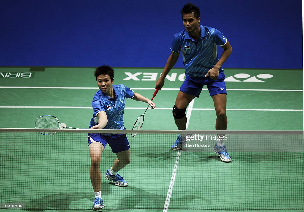 Tontowi Ahmad and <a gi-track='captionPersonalityLinkClicked' href=/galleries/search?phrase=Liliyana&family=editorial&specificpeople=4055313 ng-click='$event.stopPropagation()'>Liliyana</a> Natsir of Indonesia in action during Day 6 of the Yonex All England Badminton Open at NIA Arena on March 10, 2013 in Birmingham, England.