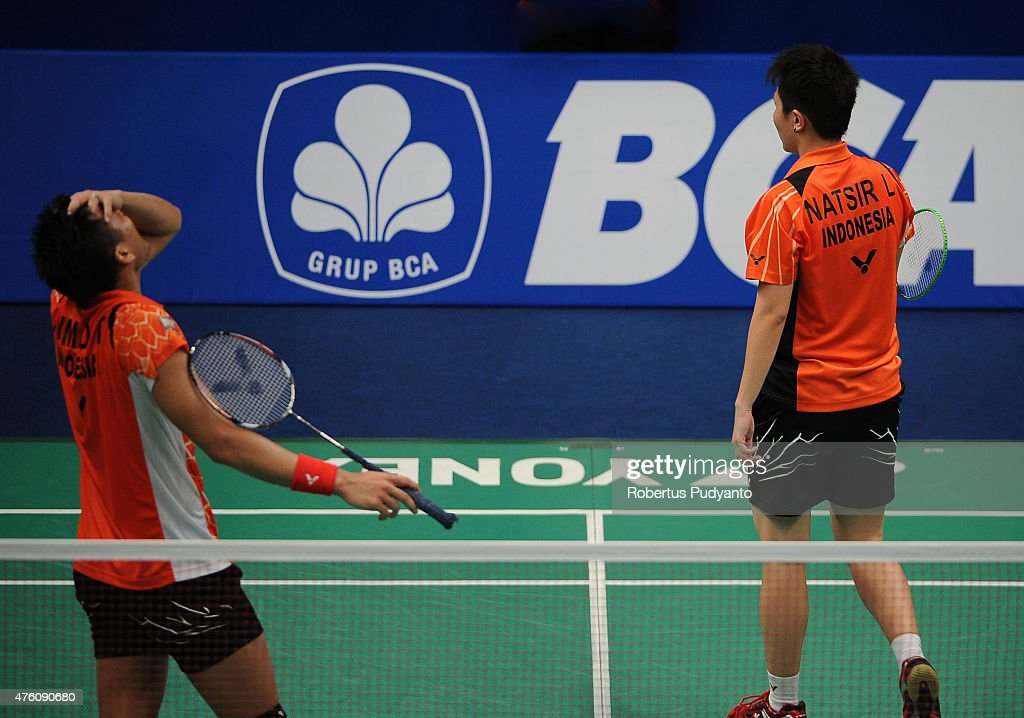 Tontowi Ahmad and <a gi-track='captionPersonalityLinkClicked' href=/galleries/search?phrase=Liliyana&family=editorial&specificpeople=4055313 ng-click='$event.stopPropagation()'>Liliyana</a> Natsir of Indonesia react after defeated by Zhang Nan and Zhao Yunlei of China during the 2015 BCA Indonesia Open Semifinals match at Istora Senayan on June 6, 2015 in Jakarta, Indonesia.
