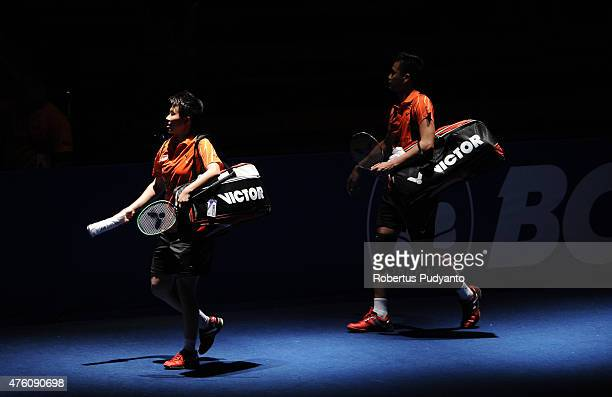 Tontowi Ahmad and Liliyana Natsir of Indonesia walk into the court during the 2015 BCA Indonesia Open Semifinals match at Istora Senayan on June 6...