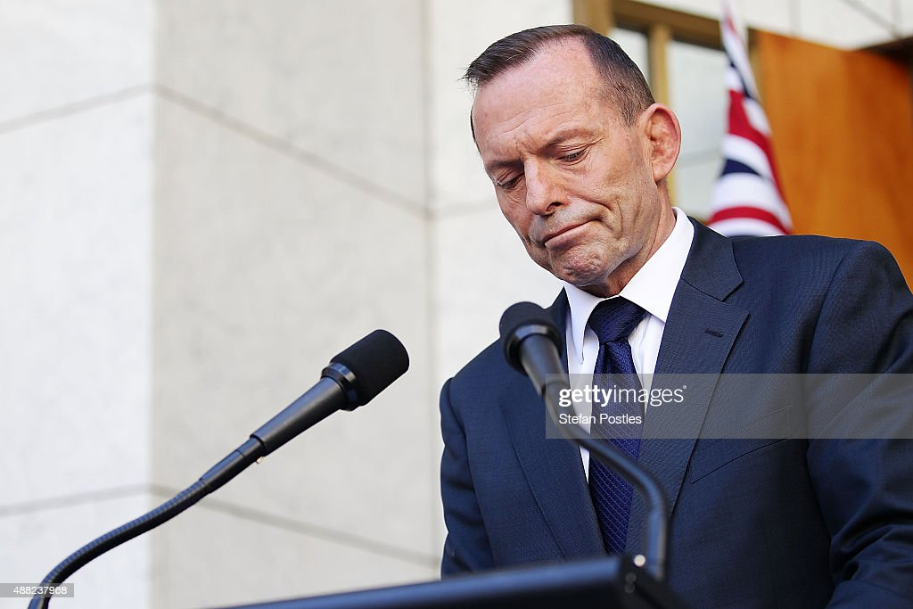 <a gi-track='captionPersonalityLinkClicked' href=/galleries/search?phrase=Tony+Abbott&family=editorial&specificpeople=220956 ng-click='$event.stopPropagation()'>Tony Abbott</a> addresses media for the last time as Prime Minister at Parliament House on September 15, 2015 in Canberra, Australia. <a gi-track='captionPersonalityLinkClicked' href=/galleries/search?phrase=Tony+Abbott&family=editorial&specificpeople=220956 ng-click='$event.stopPropagation()'>Tony Abbott</a> lost the Liberal leadership ballot last night, defeated by Malcolm Turnbull 54-44. Malcolm Turnbull will now become the 29th Prime Minister of Australia.