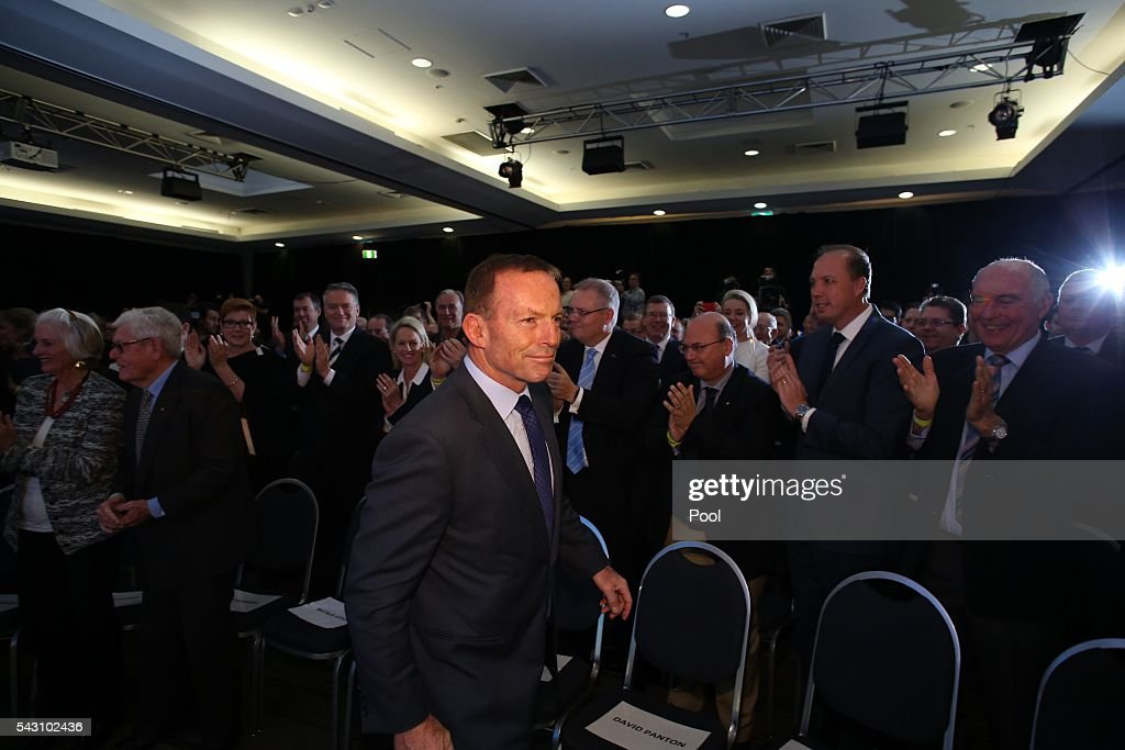 <a gi-track='captionPersonalityLinkClicked' href=/galleries/search?phrase=Tony+Abbott&family=editorial&specificpeople=220956 ng-click='$event.stopPropagation()'>Tony Abbott</a> arrives at the Coalition national campaign rally on June 26, 2016 in Sydney, Australia.