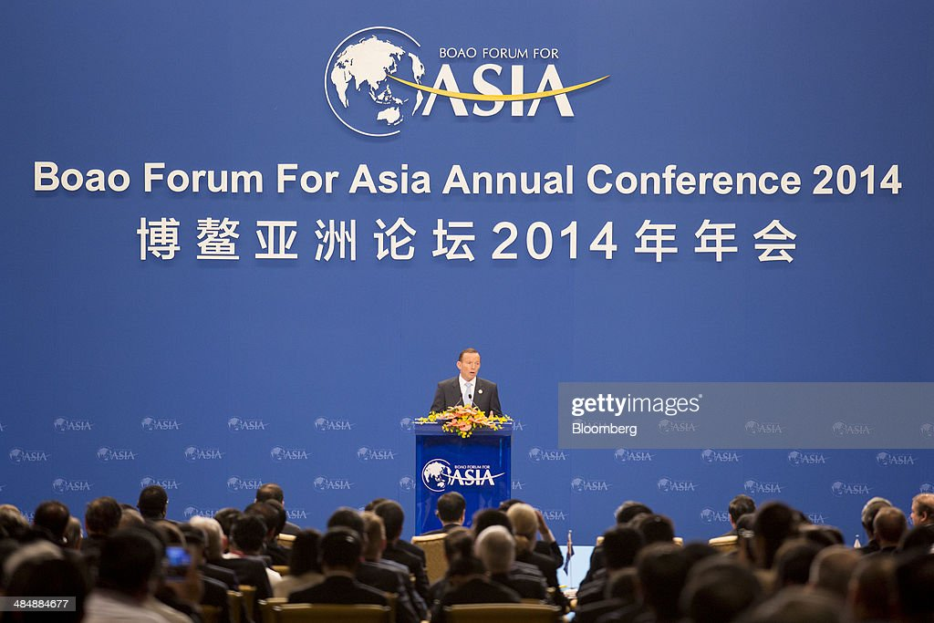 Tony Abbott, Australia's prime minister, delivers a speech at the Boao Forum for Asia in Boao, Hainan, China, on Thursday, April 10, 2014. The Boao Forum for Asia takes place from April 8-11. Photographer: Brent Lewin/Bloomberg via Getty Images