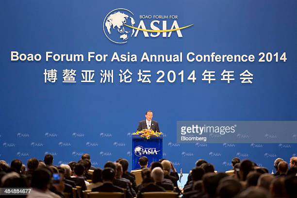 Tony Abbott Australia's prime minister delivers a speech at the Boao Forum for Asia in Boao Hainan China on Thursday April 10 2014 The Boao Forum for...