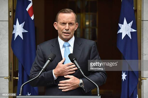 Tony Abbott Australia's prime minister gestures as he speaks during a news conference at Parliament House in Canberra Australia on Monday Feb 9 2015...