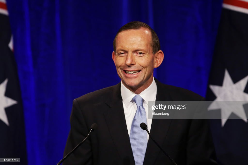 <a gi-track='captionPersonalityLinkClicked' href=/galleries/search?phrase=Tony+Abbott&family=editorial&specificpeople=220956 ng-click='$event.stopPropagation()'>Tony Abbott</a>, Australia's prime minister-elect, delivers his victory speech at the Liberal-National coalition's election function in Sydney, Australia, on Saturday, Sept. 7, 2013. <a gi-track='captionPersonalityLinkClicked' href=/galleries/search?phrase=Tony+Abbott&family=editorial&specificpeople=220956 ng-click='$event.stopPropagation()'>Tony Abbott</a>'s Liberal-National coalition won Australia's election, consigning Kevin Rudd's Labor party to the shortest stint in power in almost 40 years and ushering in a government pledging to abolish carbon and mining taxes. Photographer: Brendon Thorne/Bloomberg via Getty Images