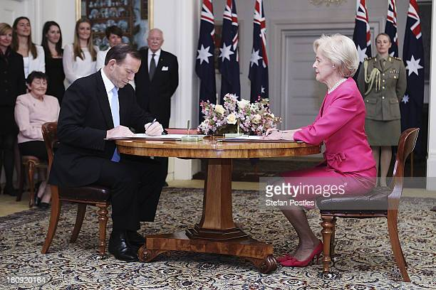 Tony Abbott is sworn in as the 28th Prime Minister of Australia by the GovernorGeneral Quentin Bryce on September 18 2013 in Canberra Australia Tony...