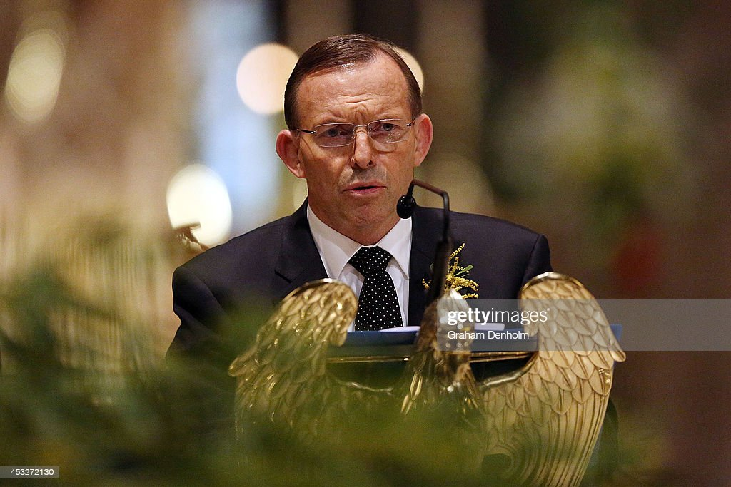 Tony Abbott Prime Minister of Australia talks during a national memorial service as Australians mourn the loss of all victims of Malaysia Airlines...
