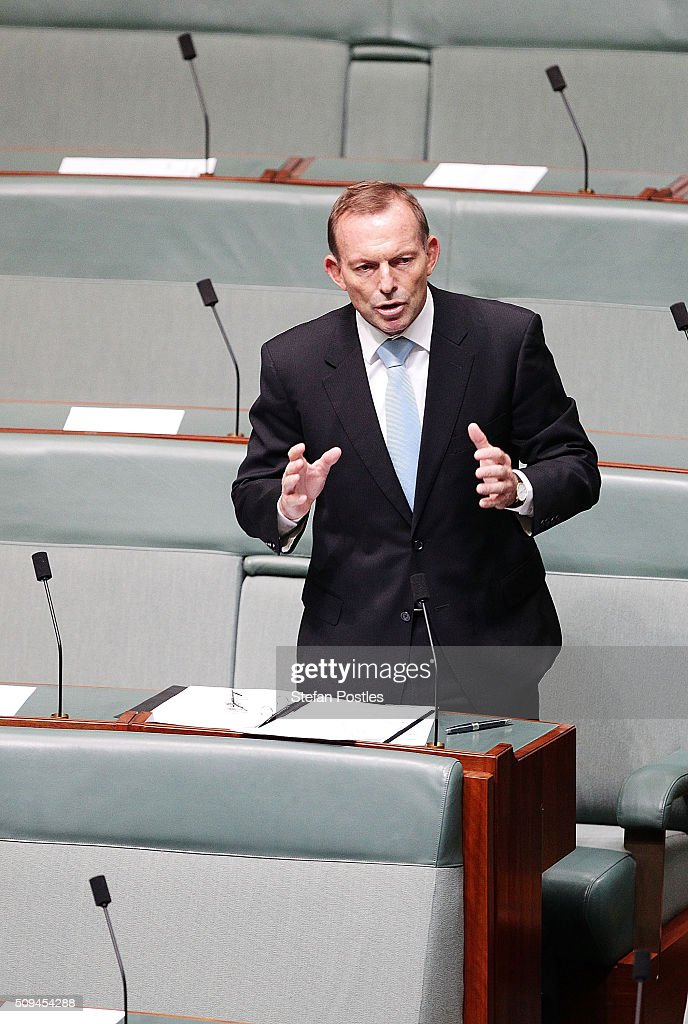 <a gi-track='captionPersonalityLinkClicked' href=/galleries/search?phrase=Tony+Abbott&family=editorial&specificpeople=220956 ng-click='$event.stopPropagation()'>Tony Abbott</a> speaks about Deputy Prime Minister Warren Truss after he announced his retirement in the House of Representatives on February 11, 2016 in Canberra, Australia. Nationals Leader and Deputy Prime Minister Warren Truss and Trade Minister Andrew Robb will retire at the next election.