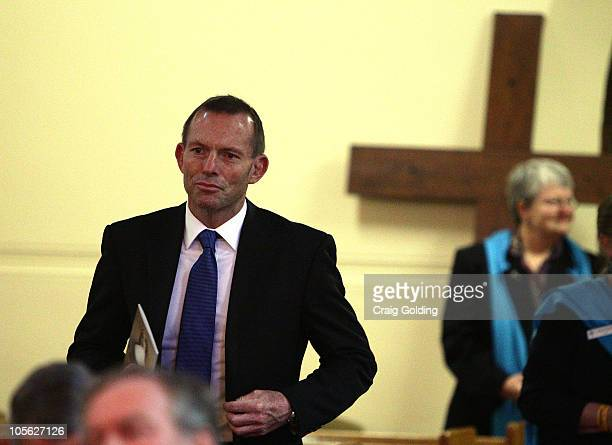 Tony Abbott the Federal Opposition Leader attends a vigil in the chapel during celebrations to mark the canonisation of Mary MacKillop at Mary...