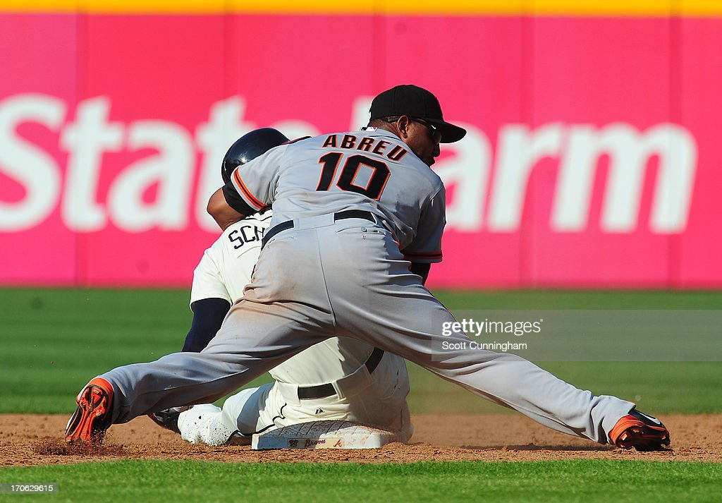 <a gi-track='captionPersonalityLinkClicked' href=/galleries/search?phrase=Tony+Abreu&family=editorial&specificpeople=840737 ng-click='$event.stopPropagation()'>Tony Abreu</a> #10 of the San Francisco Giants collides with <a gi-track='captionPersonalityLinkClicked' href=/galleries/search?phrase=Jordan+Schafer&family=editorial&specificpeople=4958028 ng-click='$event.stopPropagation()'>Jordan Schafer</a> #17 of the Atlanta Braves after turning a double play at Turner Field on June 15, 2013 in Atlanta, Georgia.