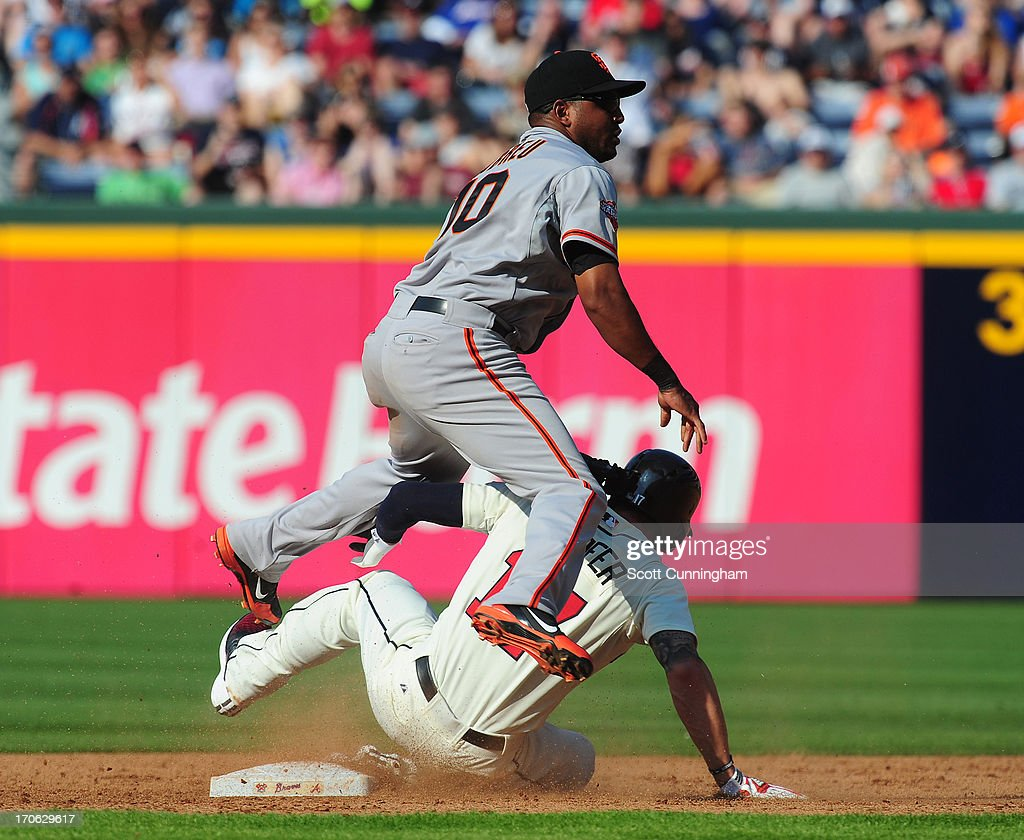 <a gi-track='captionPersonalityLinkClicked' href=/galleries/search?phrase=Tony+Abreu&family=editorial&specificpeople=840737 ng-click='$event.stopPropagation()'>Tony Abreu</a> #10 of the San Francisco Giants turns a double play against <a gi-track='captionPersonalityLinkClicked' href=/galleries/search?phrase=Jordan+Schafer&family=editorial&specificpeople=4958028 ng-click='$event.stopPropagation()'>Jordan Schafer</a> #17 of the Atlanta Braves at Turner Field on June 15, 2013 in Atlanta, Georgia.