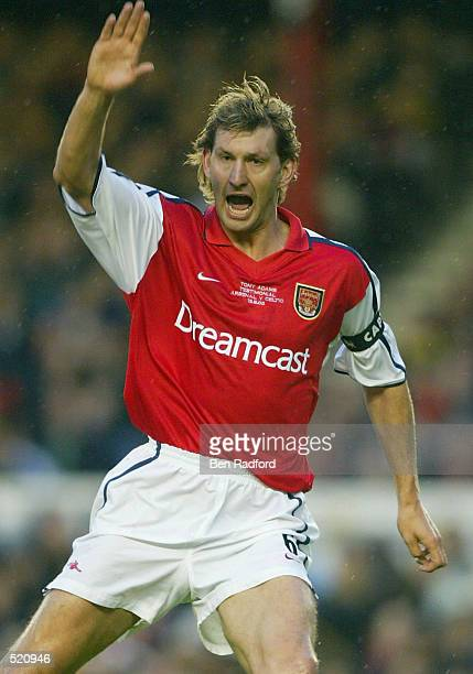 Tony Adams of Arsenal calls for the offside during the Tony Adams Testimonial match played between Arsenal and Glasgow Celtic at Highbury London on...