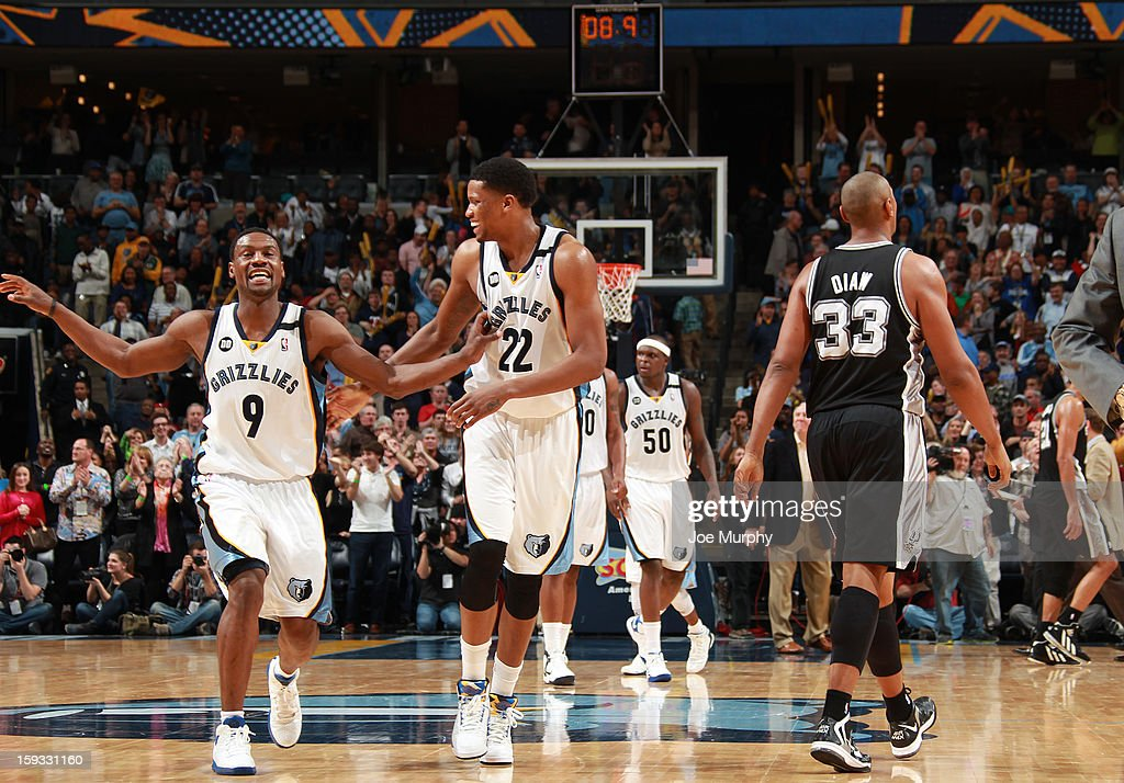 Tony Allen #9 and Rudy Gay #22 of the Memphis Grizzlies celebrate during the game against the San Antonio Spurs on January 11, 2013 at FedExForum in Memphis, Tennessee.