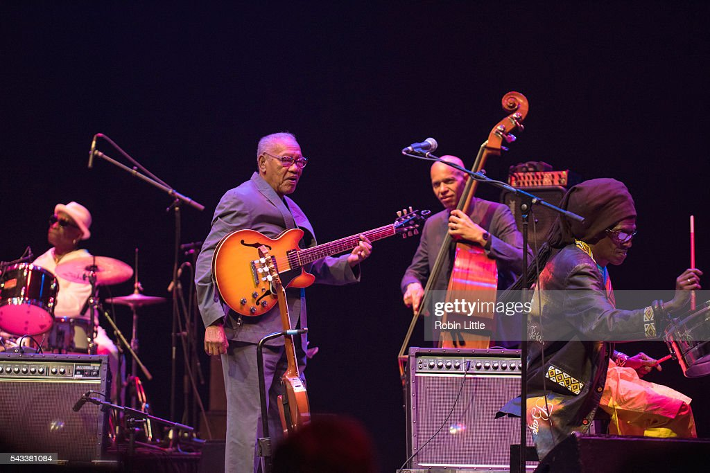 Tony Allen, <a gi-track='captionPersonalityLinkClicked' href=/galleries/search?phrase=Ernest+Ranglin&family=editorial&specificpeople=4647588 ng-click='$event.stopPropagation()'>Ernest Ranglin</a>, Ira Coleman and Cheikh Lo perform at Barbican Centre on June 27, 2016 in London, England.
