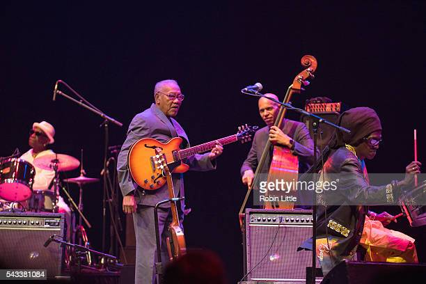 Tony Allen Ernest Ranglin Ira Coleman and Cheikh Lo perform at Barbican Centre on June 27 2016 in London England