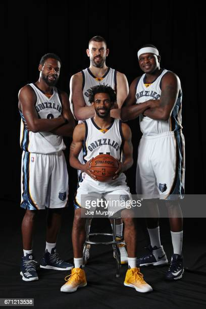 Tony Allen Marc Gasol Mike Conley and Zach Randolph of the Memphis Grizzlies pose for a group photo on April 11 2017 at FedExForum in Memphis...