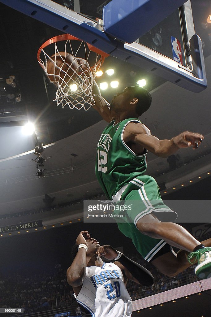 Tony Allen #42 of the Boston Celtics dunks against the Orlando Magic in Game One of the Eastern Conference Finals during the 2010 NBA Playoffs on May 16, 2010 at Amway Arena in Orlando, Florida.