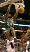 Tony Allen of the Boston Celtics dunks during the 134127 double overtime victory over the Los Angeles Clippers at the Staples Center in Los Angeles...