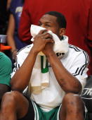 Tony Allen of the Boston Celtics looks on form the bench dejected late in the fourth quarter against the Los Angeles Lakers in Game One of the 2010...