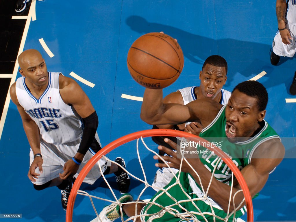Tony Allen #42 of the Boston Celtics takes the ball to the basket against the Orlando Magic in Game Two of the Eastern Conference Finals during the 2010 NBA Playoffs on May 18, 2010 at Amway Arena in Orlando, Florida.