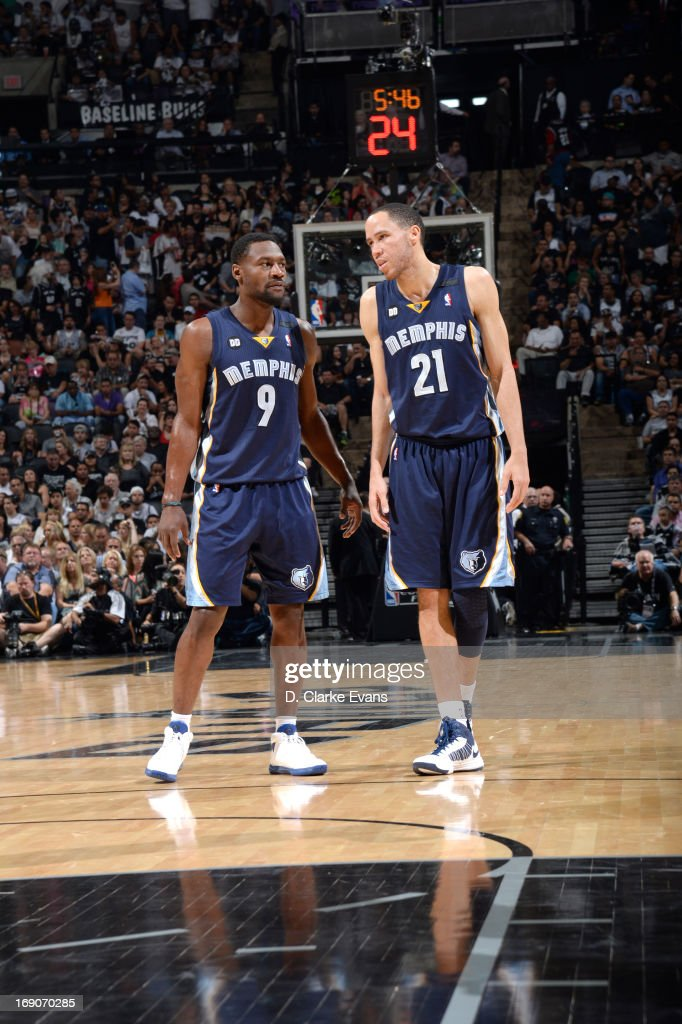 Tony Allen of the Memphis Grizzlies and Tayshaun Prince of the Memphis Grizzlies confer during Game One of the Western Conference Finals between the...