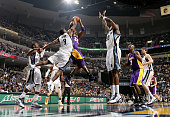 Tony Allen of the Memphis Grizzlies attempts to block a shot by Kobe Bryant of the Los Angeles Lakers on November 30 2010 at FedExForum in Memphis...