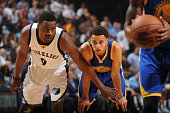 Tony Allen of the Memphis Grizzlies battles for position against Stephen Curry of the Golden State Warriors in Game Three of the Western Conference...
