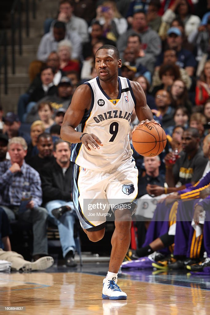<a gi-track='captionPersonalityLinkClicked' href=/galleries/search?phrase=Tony+Allen+-+Basketball+Player&family=editorial&specificpeople=201665 ng-click='$event.stopPropagation()'>Tony Allen</a> #9 of the Memphis Grizzlies brings the ball up court against the Los Angeles Lakers on January 23, 2013 at FedExForum in Memphis, Tennessee.