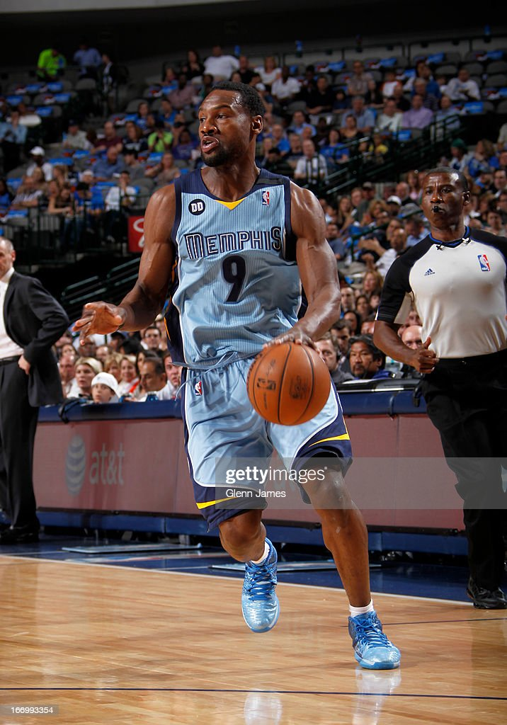 <a gi-track='captionPersonalityLinkClicked' href=/galleries/search?phrase=Tony+Allen+-+Basketball+Player&family=editorial&specificpeople=201665 ng-click='$event.stopPropagation()'>Tony Allen</a> #9 of the Memphis Grizzlies brings the ball up court against the Dallas Mavericks on April 15, 2013 at the American Airlines Center in Dallas, Texas.