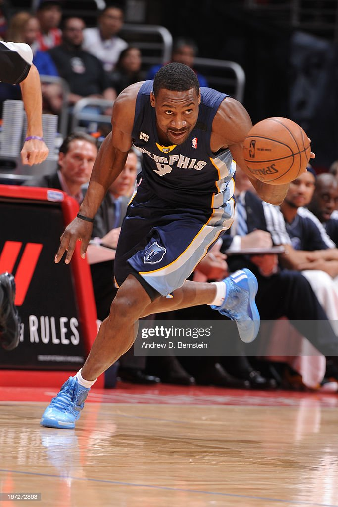 <a gi-track='captionPersonalityLinkClicked' href=/galleries/search?phrase=Tony+Allen+-+Basketball+Player&family=editorial&specificpeople=201665 ng-click='$event.stopPropagation()'>Tony Allen</a> #9 of the Memphis Grizzlies brings the ball up court against the Los Angeles Clippers at Staples Center on March 13, 2013 in Los Angeles, California.