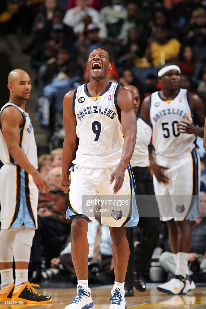 <a gi-track='captionPersonalityLinkClicked' href=/galleries/search?phrase=Tony+Allen+-+Basketball+Player&family=editorial&specificpeople=201665 ng-click='$event.stopPropagation()'>Tony Allen</a> #9 of the Memphis Grizzlies celebrates a play in the game against the Toronto Raptors on November 28, 2012 at FedExForum in Memphis, Tennessee.