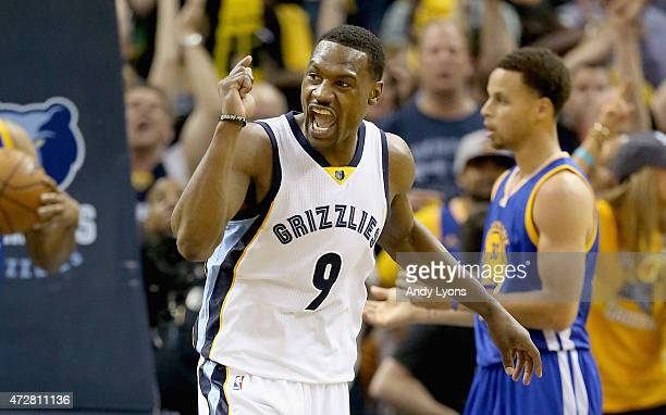 Tony Allen of the Memphis Grizzlies celebrates after making a basket against the Golden State Warriors during Game three of the Western Conference...