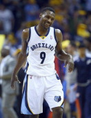 Tony Allen of the Memphis Grizzlies celebrates against the Oklahoma City Thunder during Game 3 of the Western Conference Quarterfinals during the...