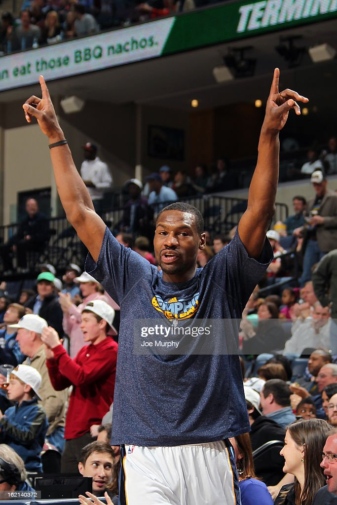 <a gi-track='captionPersonalityLinkClicked' href=/galleries/search?phrase=Tony+Allen+-+Basketballer&family=editorial&specificpeople=201665 ng-click='$event.stopPropagation()'>Tony Allen</a> #9 of the Memphis Grizzlies celebrates during the game against the Brooklyn Nets on January 25, 2013 at FedExForum in Memphis, Tennessee.