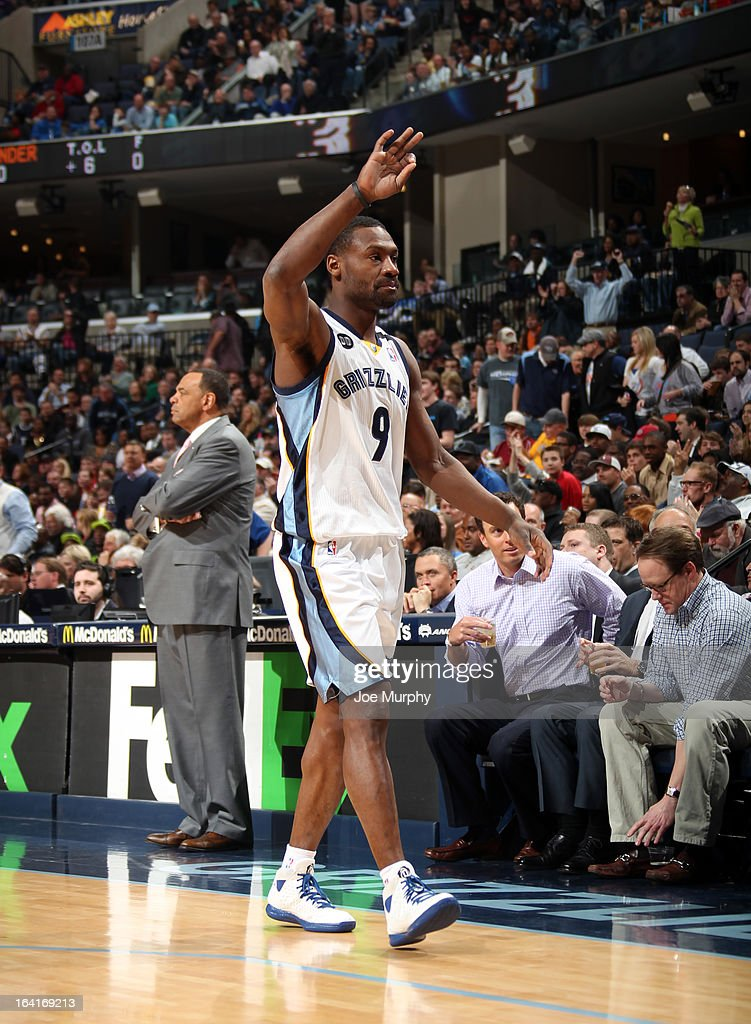 Tony Allen #9 of the Memphis Grizzlies celebrates during the game against the Oklahoma City Thunder on March 20, 2013 at FedExForum in Memphis, Tennessee.